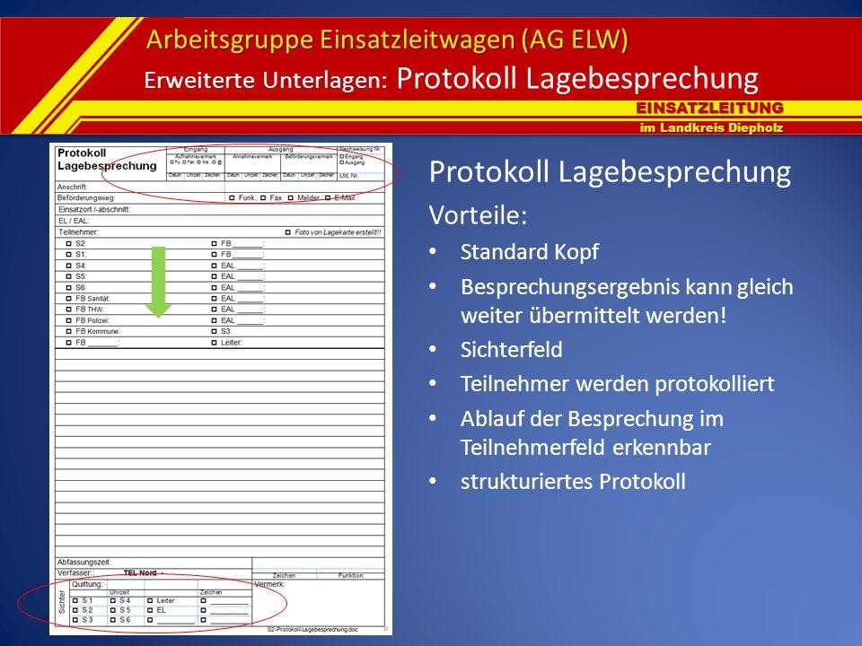EINSATZLEITUNG im Landkreis Diepholz Arbeitsgruppe Einsatzleitwagen (AG ELW) Erweiterte Unterlagen: Protokoll Lagebesprechung Protokoll Lagebesprechun