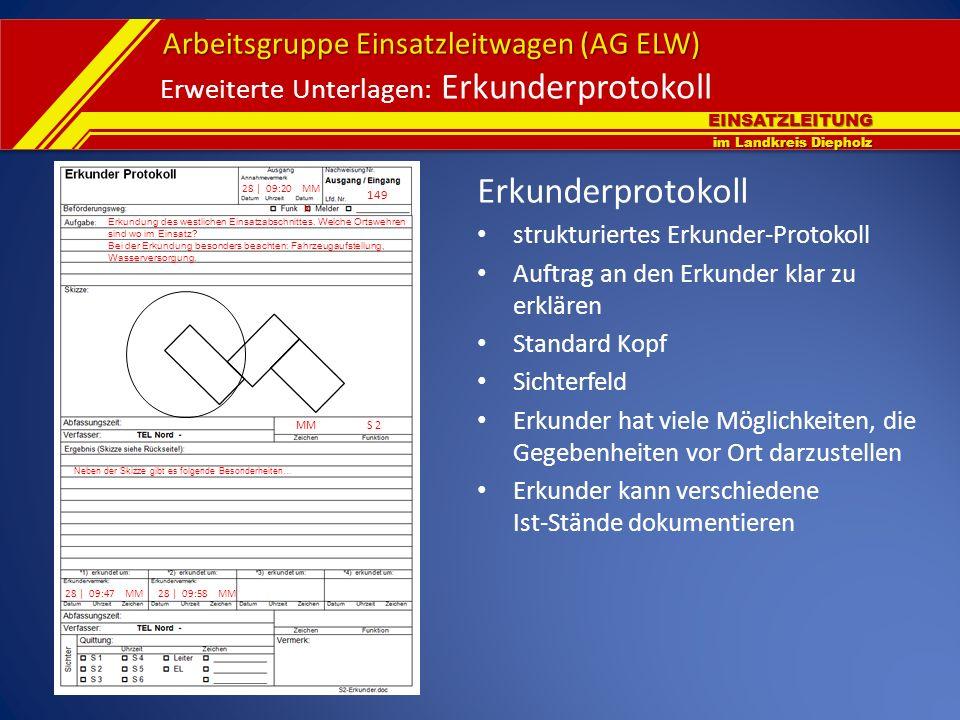 EINSATZLEITUNG im Landkreis Diepholz Arbeitsgruppe Einsatzleitwagen (AG ELW) Erweiterte Unterlagen: Erkunderprotokoll 28 | 09:20 MM 149 x Erkundung de