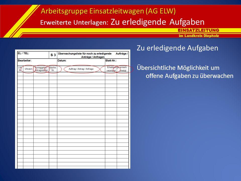 EINSATZLEITUNG im Landkreis Diepholz Arbeitsgruppe Einsatzleitwagen (AG ELW) Erweiterte Unterlagen: Zu erledigende Aufgaben Zu erledigende Aufgaben Üb