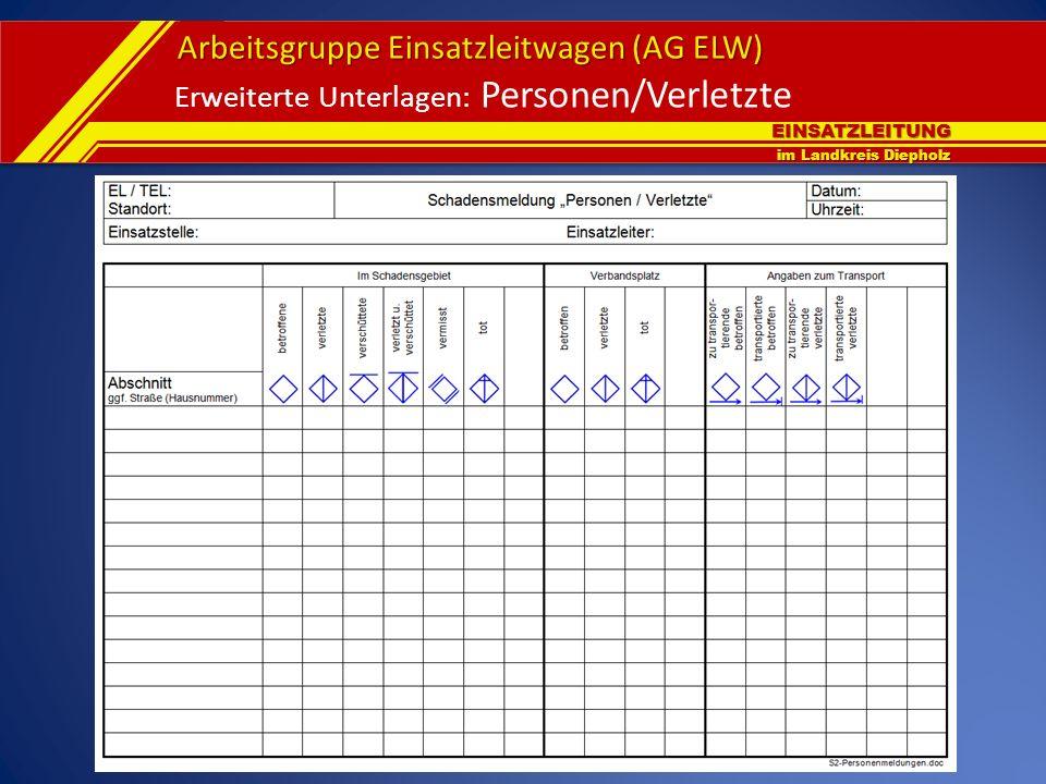 EINSATZLEITUNG im Landkreis Diepholz Arbeitsgruppe Einsatzleitwagen (AG ELW) Erweiterte Unterlagen: Personen/Verletzte