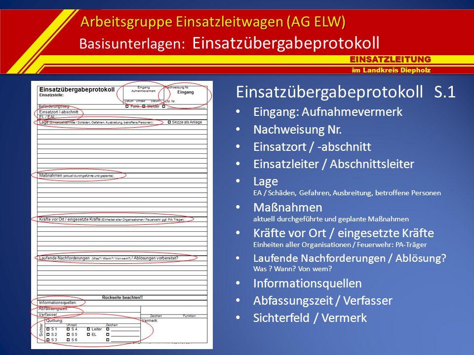 EINSATZLEITUNG im Landkreis Diepholz Arbeitsgruppe Einsatzleitwagen (AG ELW) Basisunterlagen: Einsatzübergabeprotokoll Einsatzübergabeprotokoll S.1 Ei