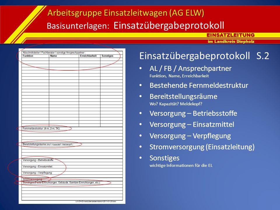 EINSATZLEITUNG im Landkreis Diepholz Arbeitsgruppe Einsatzleitwagen (AG ELW) Basisunterlagen: Einsatzübergabeprotokoll Einsatzübergabeprotokoll S.2 AL