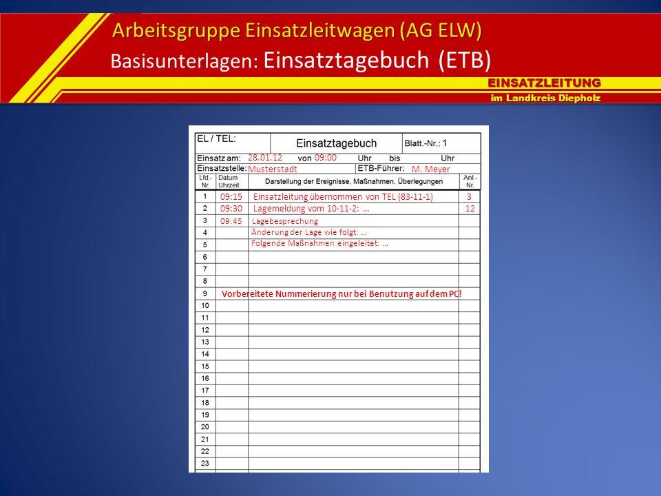 EINSATZLEITUNG im Landkreis Diepholz Arbeitsgruppe Einsatzleitwagen (AG ELW) Basisunterlagen: Einsatztagebuch (ETB) 28.01.12 09:00 Musterstadt M. Meye