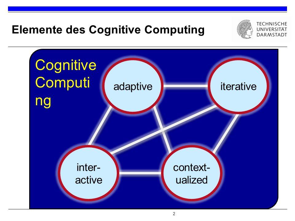 2 Elemente des Cognitive Computing ss context- ualized iterativeadaptive inter- active Cognitive Computi ng