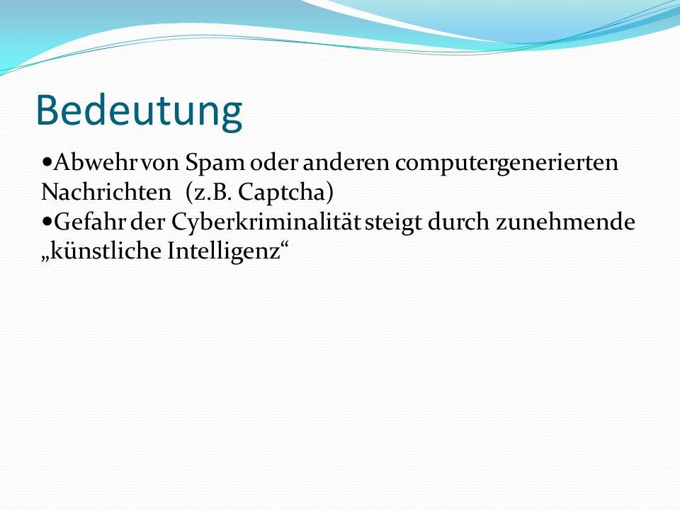 Bedeutung Abwehr von Spam oder anderen computergenerierten Nachrichten (z.B.