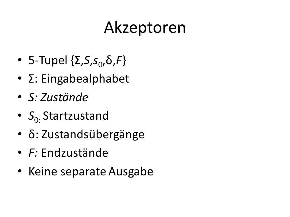 Akzeptoren 5-Tupel {Σ,S,s 0,δ,F} Σ: Eingabealphabet S: Zustände S 0: Startzustand δ: Zustandsübergänge F: Endzustände Keine separate Ausgabe