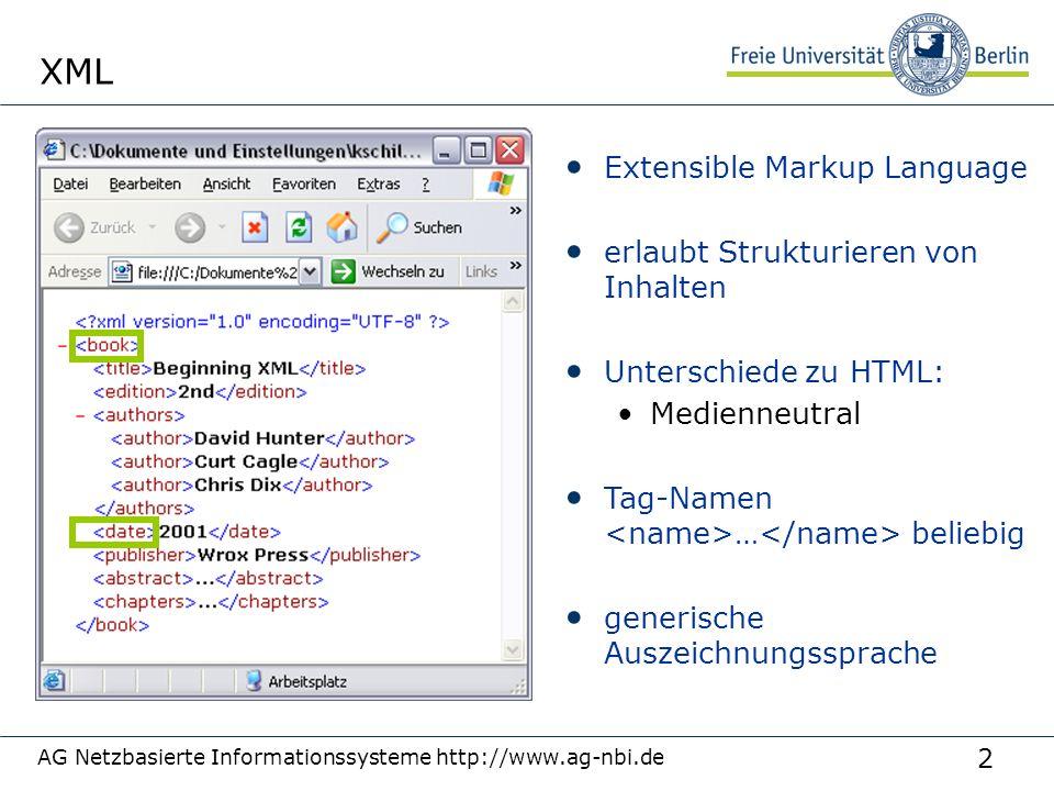 2 AG Netzbasierte Informationssysteme http://www.ag-nbi.de XML Extensible Markup Language erlaubt Strukturieren von Inhalten Unterschiede zu HTML: Medienneutral Tag-Namen … beliebig generische Auszeichnungssprache