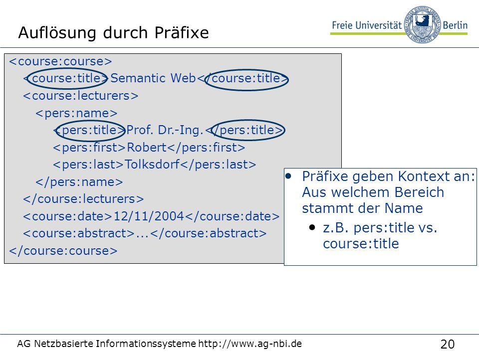 20 AG Netzbasierte Informationssysteme http://www.ag-nbi.de Auflösung durch Präfixe Semantic Web Prof.