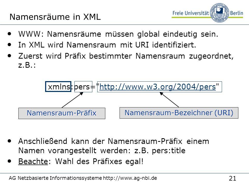 21 AG Netzbasierte Informationssysteme http://www.ag-nbi.de Namensräume in XML WWW: Namensräume müssen global eindeutig sein.