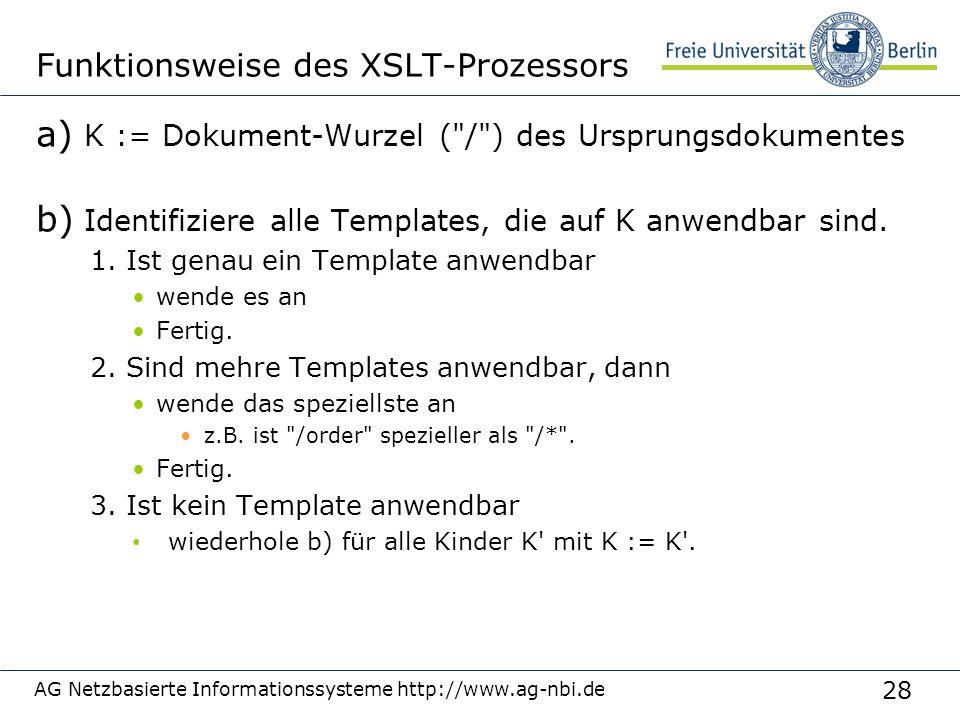 28 Funktionsweise des XSLT-Prozessors a) K := Dokument-Wurzel ( / ) des Ursprungsdokumentes b) Identifiziere alle Templates, die auf K anwendbar sind.