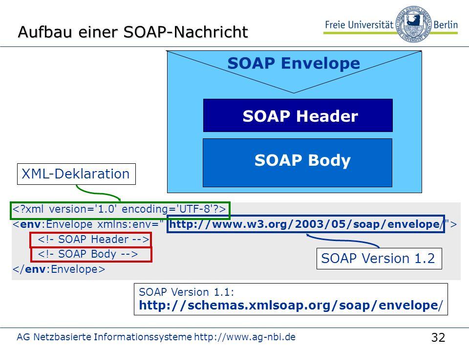 32 AG Netzbasierte Informationssysteme http://www.ag-nbi.de Aufbau einer SOAP-Nachricht SOAP Envelope SOAP Header SOAP Body SOAP Version 1.1: http://schemas.xmlsoap.org/soap/envelope/ SOAP Version 1.2 XML-Deklaration