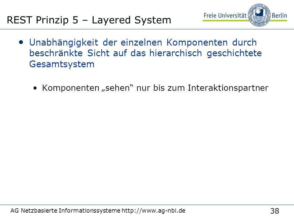 """38 Unabhängigkeit der einzelnen Komponenten durch beschränkte Sicht auf das hierarchisch geschichtete Gesamtsystem Komponenten """"sehen nur bis zum Interaktionspartner AG Netzbasierte Informationssysteme http://www.ag-nbi.de REST Prinzip 5 – Layered System"""