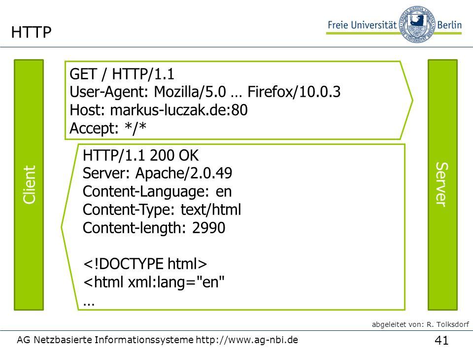 41 AG Netzbasierte Informationssysteme http://www.ag-nbi.de HTTP GET / HTTP/1.1 User-Agent: Mozilla/5.0 … Firefox/10.0.3 Host: markus-luczak.de:80 Accept: */* HTTP/1.1 200 OK Server: Apache/2.0.49 Content-Language: en Content-Type: text/html Content-length: 2990 <html xml:lang= en … Client Server abgeleitet von: R.