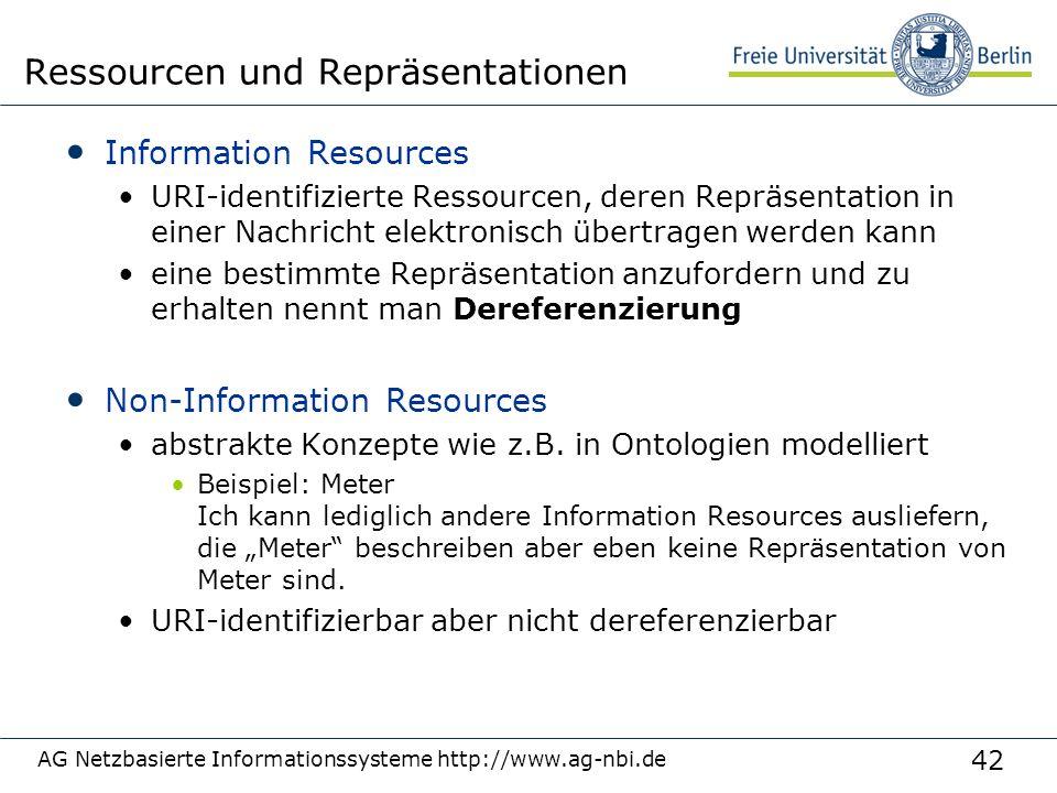 42 Information Resources URI-identifizierte Ressourcen, deren Repräsentation in einer Nachricht elektronisch übertragen werden kann eine bestimmte Repräsentation anzufordern und zu erhalten nennt man Dereferenzierung Non-Information Resources abstrakte Konzepte wie z.B.