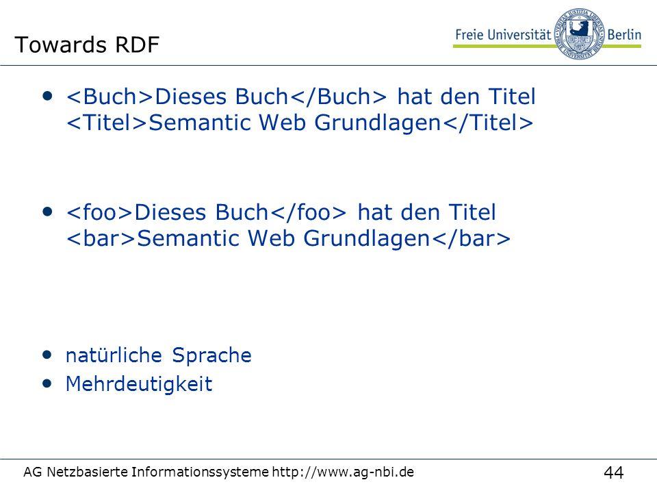 44 Towards RDF Dieses Buch hat den Titel Semantic Web Grundlagen natürliche Sprache Mehrdeutigkeit AG Netzbasierte Informationssysteme http://www.ag-nbi.de