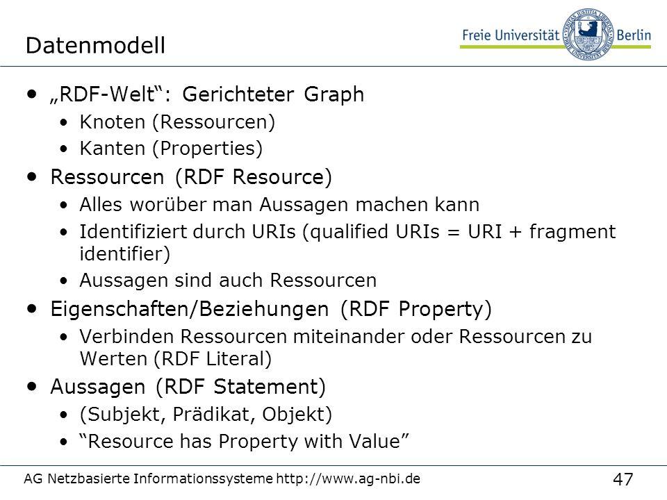 """47 AG Netzbasierte Informationssysteme http://www.ag-nbi.de Datenmodell """"RDF-Welt : Gerichteter Graph Knoten (Ressourcen) Kanten (Properties) Ressourcen (RDF Resource) Alles worüber man Aussagen machen kann Identifiziert durch URIs (qualified URIs = URI + fragment identifier) Aussagen sind auch Ressourcen Eigenschaften/Beziehungen (RDF Property) Verbinden Ressourcen miteinander oder Ressourcen zu Werten (RDF Literal) Aussagen (RDF Statement) (Subjekt, Prädikat, Objekt) Resource has Property with Value"""