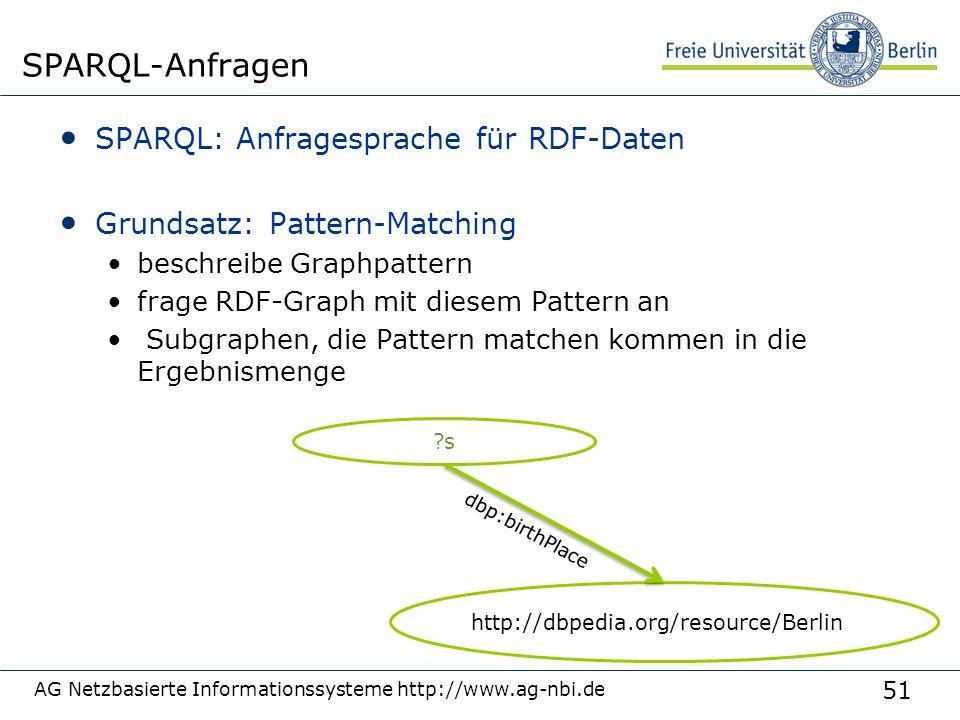 51 SPARQL: Anfragesprache für RDF-Daten Grundsatz: Pattern-Matching beschreibe Graphpattern frage RDF-Graph mit diesem Pattern an Subgraphen, die Pattern matchen kommen in die Ergebnismenge AG Netzbasierte Informationssysteme http://www.ag-nbi.de SPARQL-Anfragen s http://dbpedia.org/resource/Berlin dbp:birthPlace