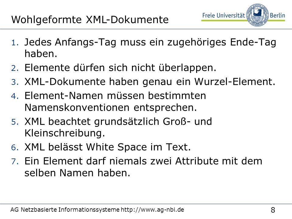 49 Als XML-Baum AG Netzbasierte Informationssysteme http://www.ag-nbi.de page Ora Ora href= page Ora href= page Ora