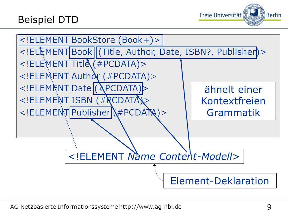 9 Beispiel DTD AG Netzbasierte Informationssysteme http://www.ag-nbi.de ähnelt einer Kontextfreien Grammatik Element-Deklaration
