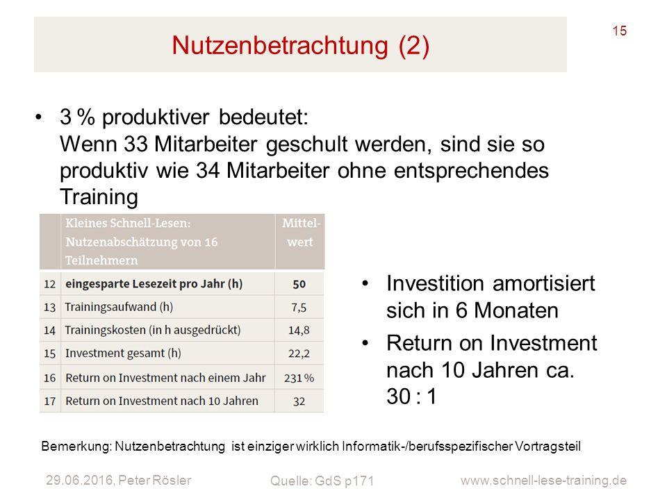 29.06.2016, Peter Rösler www.schnell-lese-training.de Nutzenbetrachtung (2) 15 3% produktiver bedeutet: Wenn 33 Mitarbeiter geschult werden, sind sie
