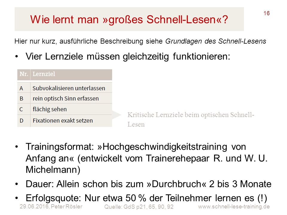 29.06.2016, Peter Rösler www.schnell-lese-training.de Wie lernt man »großes Schnell-Lesen«.