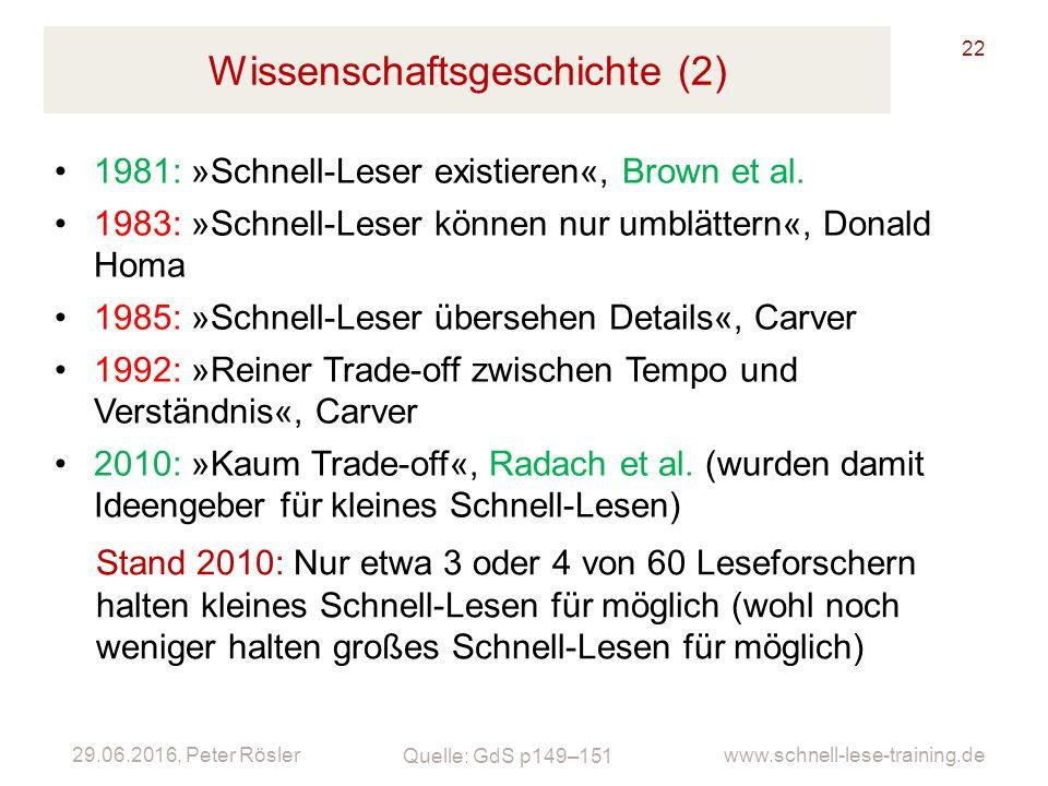 29.06.2016, Peter Rösler www.schnell-lese-training.de Wissenschaftsgeschichte (2) 22 1981: »Schnell-Leser existieren«, Brown et al. 1983: »Schnell-Les
