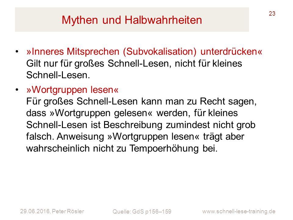 29.06.2016, Peter Rösler www.schnell-lese-training.de Mythen und Halbwahrheiten 23 »Inneres Mitsprechen (Subvokalisation) unterdrücken« Gilt nur für g