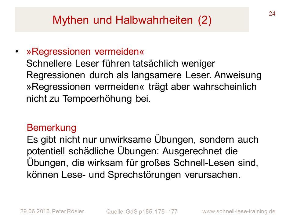 29.06.2016, Peter Rösler www.schnell-lese-training.de Mythen und Halbwahrheiten (2) 24 »Regressionen vermeiden« Schnellere Leser führen tatsächlich weniger Regressionen durch als langsamere Leser.