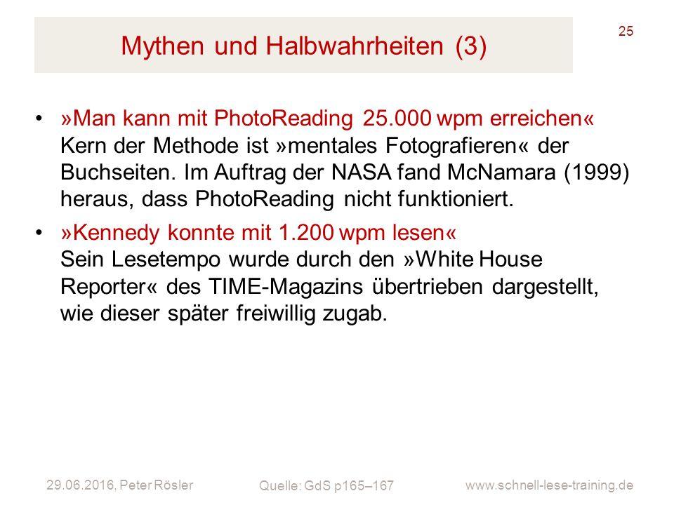 29.06.2016, Peter Rösler www.schnell-lese-training.de Mythen und Halbwahrheiten (3) 25 »Man kann mit PhotoReading 25.000wpm erreichen« Kern der Methode ist »mentales Fotografieren« der Buchseiten.