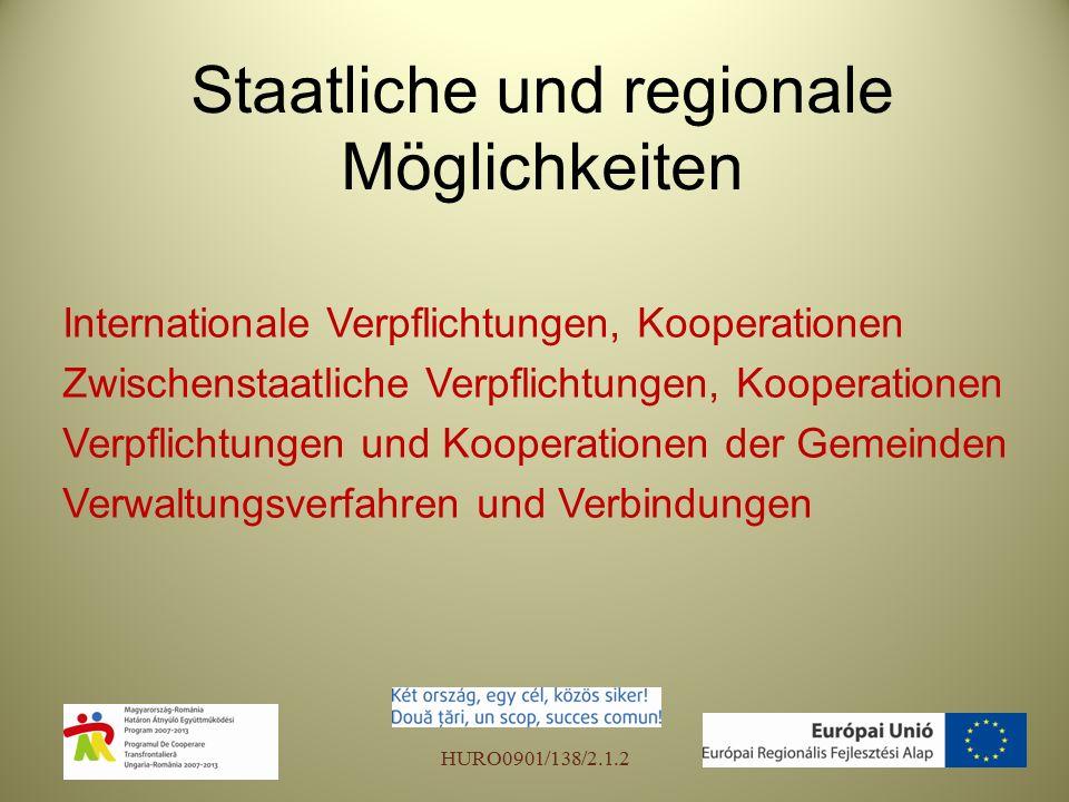 Staatliche und regionale Möglichkeiten Internationale Verpflichtungen, Kooperationen Zwischenstaatliche Verpflichtungen, Kooperationen Verpflichtungen und Kooperationen der Gemeinden Verwaltungsverfahren und Verbindungen HURO0901/138/2.1.2