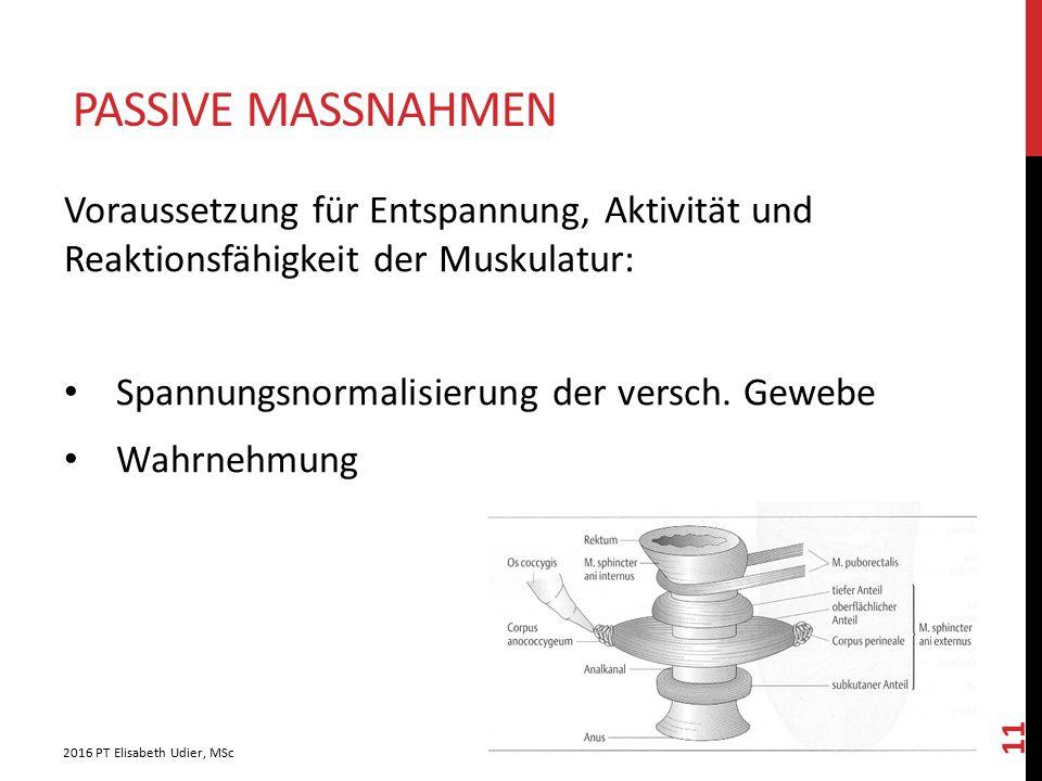 PASSIVE MASSNAHMEN Voraussetzung für Entspannung, Aktivität und Reaktionsfähigkeit der Muskulatur: Spannungsnormalisierung der versch. Gewebe Wahrnehm