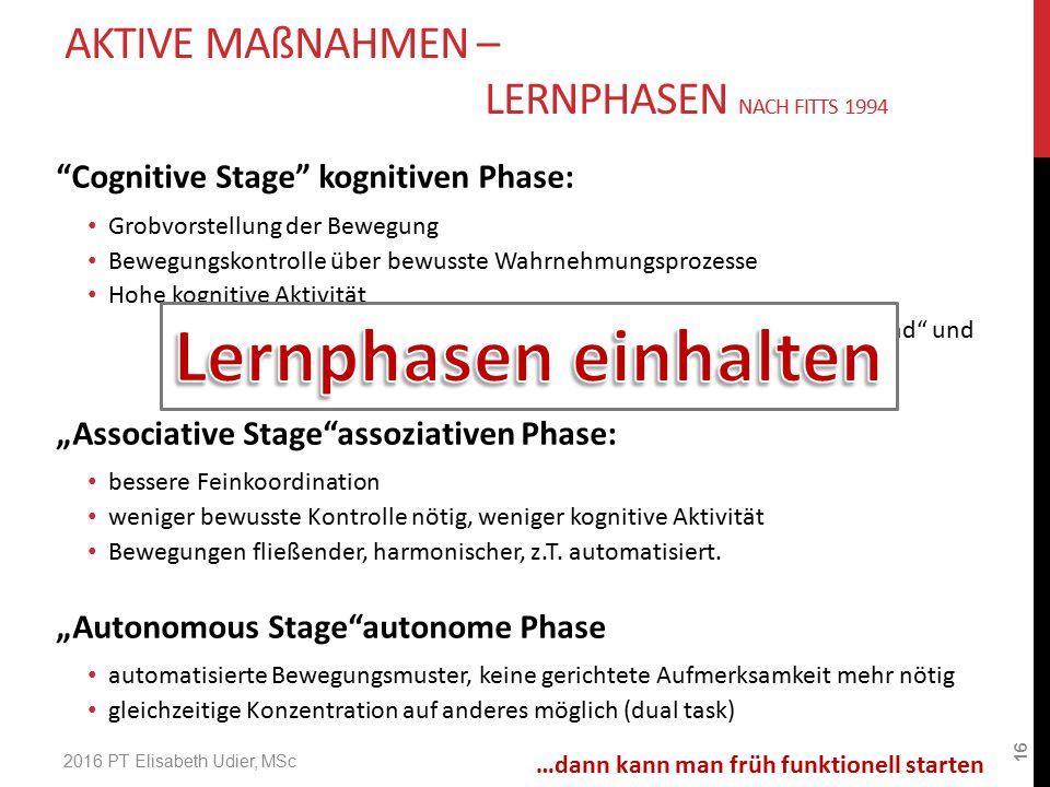 """""""Cognitive Stage"""" kognitiven Phase: Grobvorstellung der Bewegung Bewegungskontrolle über bewusste Wahrnehmungsprozesse Hohe kognitive Aktivität Bewegu"""
