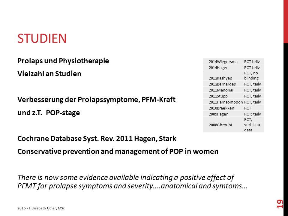 STUDIEN Prolaps und Physiotherapie Vielzahl an Studien Verbesserung der Prolapssymptome, PFM-Kraft und z.T. POP-stage Cochrane Database Syst. Rev. 201