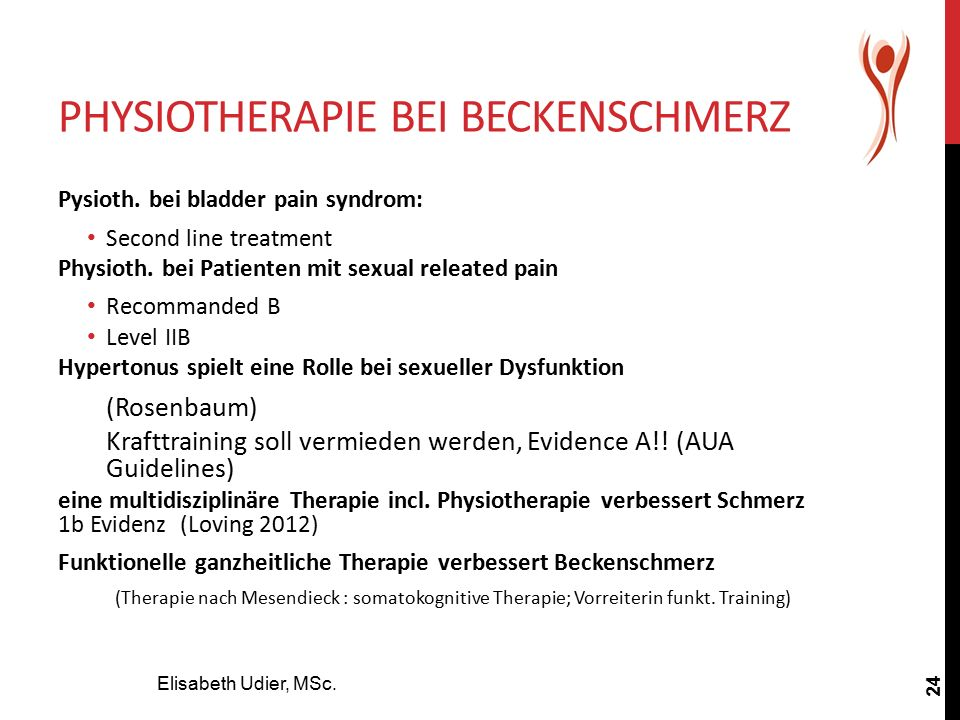 PHYSIOTHERAPIE BEI BECKENSCHMERZ Elisabeth Udier, MSc. 24 Pysioth. bei bladder pain syndrom: Second line treatment Physioth. bei Patienten mit sexual