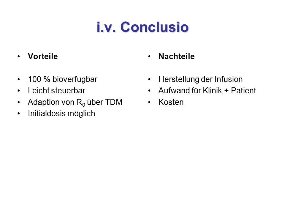 i.v. Conclusio Vorteile 100 % bioverfügbar Leicht steuerbar Adaption von R 0 über TDM Initialdosis möglich Nachteile Herstellung der Infusion Aufwand
