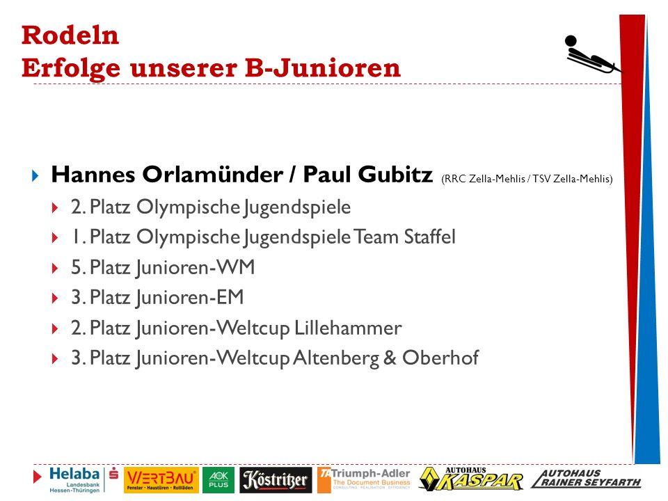 Rodeln Erfolge unserer B-Junioren  Hannes Orlamünder / Paul Gubitz (RRC Zella-Mehlis / TSV Zella-Mehlis)  2.
