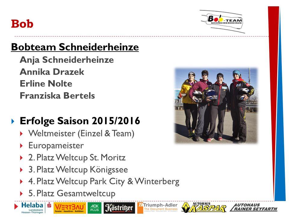 Bobteam Schneiderheinze Anja Schneiderheinze Annika Drazek Erline Nolte Franziska Bertels  Erfolge Saison 2015/2016  Weltmeister (Einzel & Team)  Europameister  2.