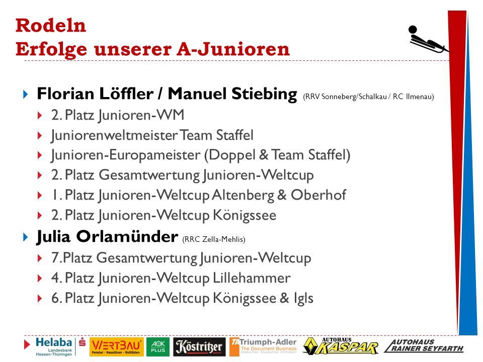 Rodeln Erfolge unserer A-Junioren  Florian Löffler / Manuel Stiebing (RRV Sonneberg/Schalkau / RC Ilmenau)  2.