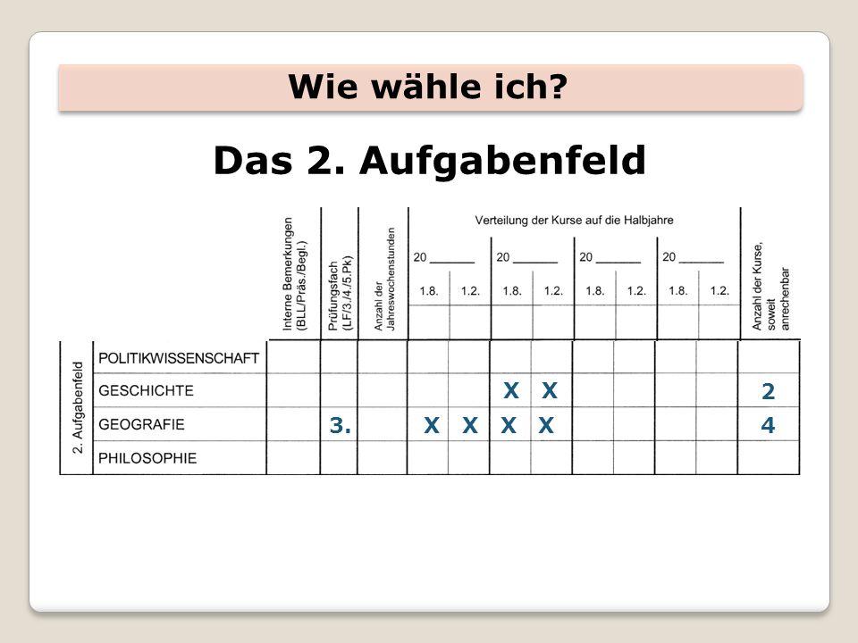Wie wähle ich Das 2. Aufgabenfeld X X X X3. X X 2 4