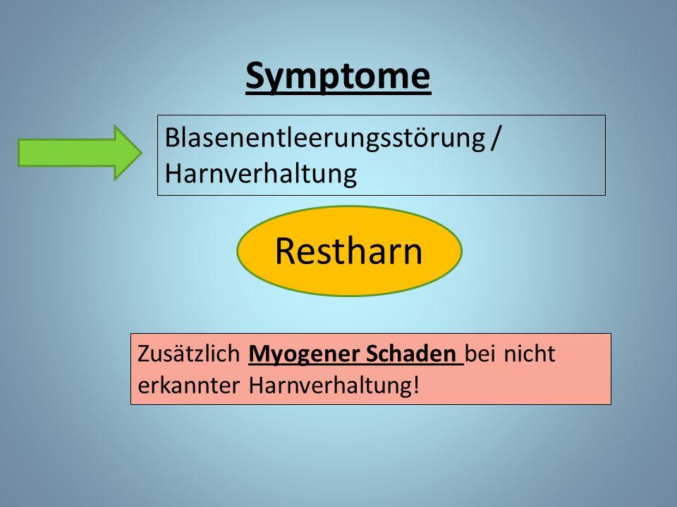 Blasenentleerungsstörung / Harnverhaltung Restharn Zusätzlich Myogener Schaden bei nicht erkannter Harnverhaltung.