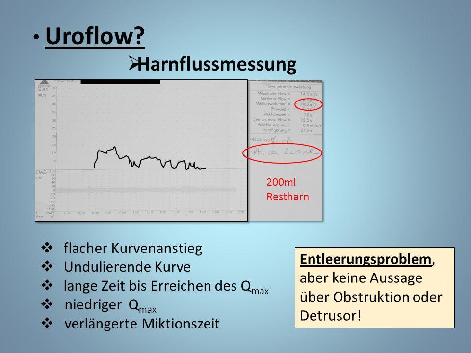 Uroflow?  Harnflussmessung  flacher Kurvenanstieg  Undulierende Kurve  lange Zeit bis Erreichen des Q max  niedriger Q max  verlängerte Miktions
