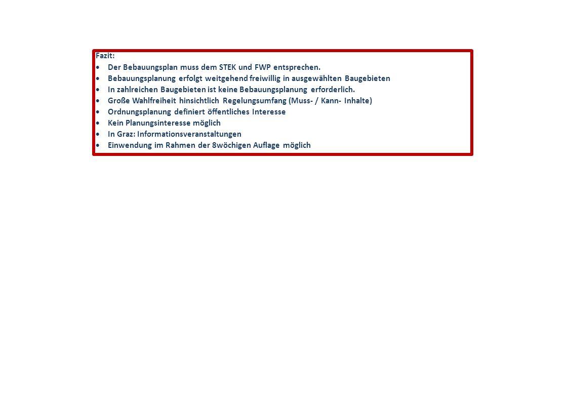 Fazit:  Der Bebauungsplan muss dem STEK und FWP entsprechen.  Bebauungsplanung erfolgt weitgehend freiwillig in ausgewählten Baugebieten  In zahlre