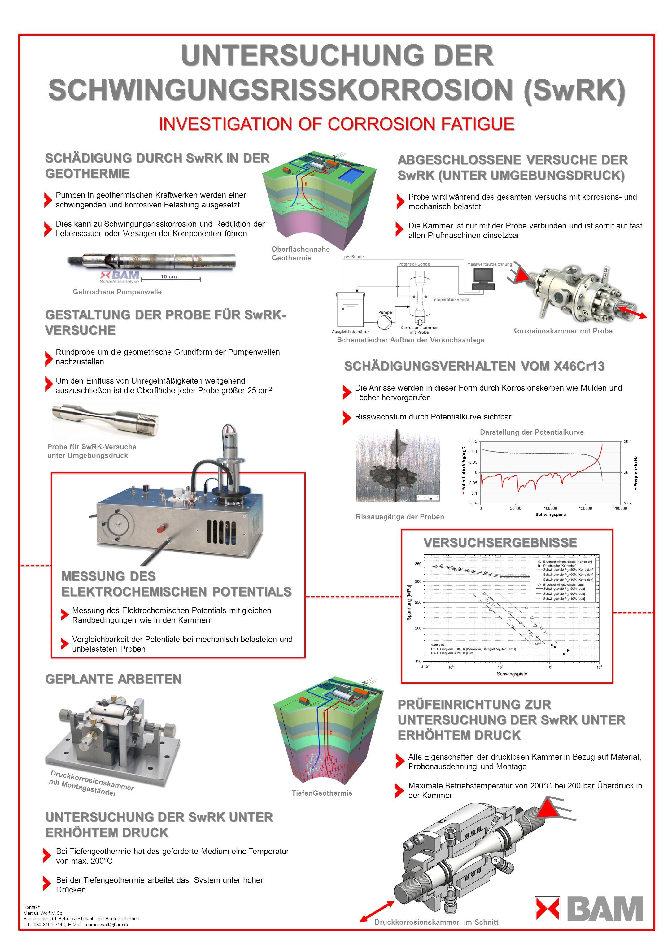 UNTERSUCHUNG DER SCHWINGUNGSRISSKORROSION (SwRK) INVESTIGATION OF CORROSION FATIGUE ABGESCHLOSSENE VERSUCHE DER SwRK (UNTER UMGEBUNGSDRUCK) Probe wird während des gesamten Versuchs mit korrosions- und mechanisch belastet Die Kammer ist nur mit der Probe verbunden und ist somit auf fast allen Prüfmaschinen einsetzbar MODULARE ZUSATZBAUTEILE Sechs Anschlussmöglichkeiten in der Mitte der Kammer garantieren eine hohe Anpassungsfähigkeit Die Einsätze können entweder speziell für Sensoren angepasst werden oder es kann eine Halterung aus dem Portfolio gewählt werden Es stehen z.B.