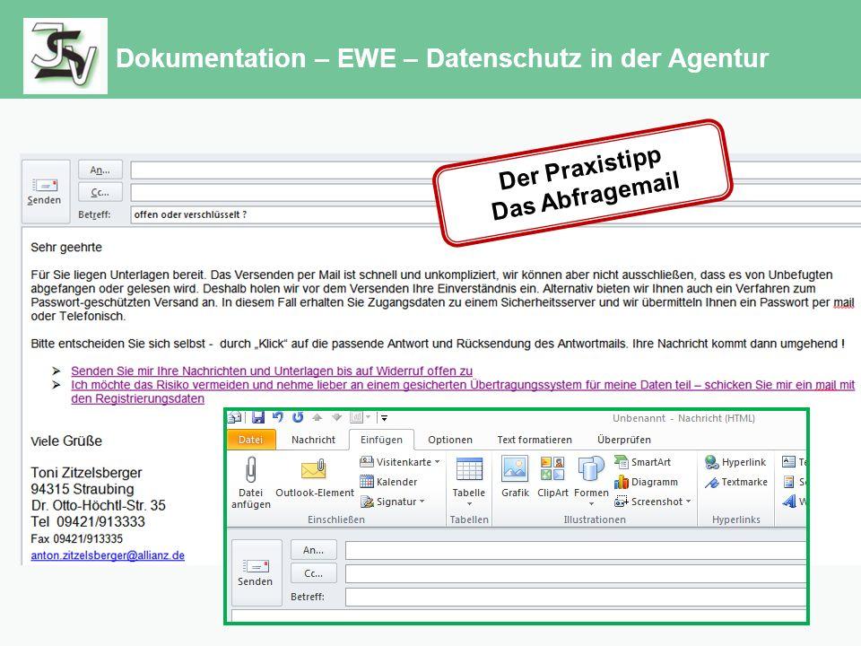 Dokumentation – EWE – Datenschutz in der Agentur Der Praxistipp Das Abfragemail