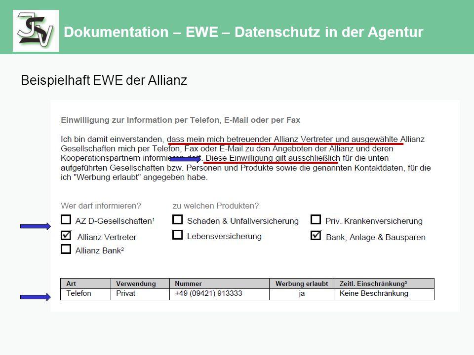 Dokumentation – EWE – Datenschutz in der Agentur Beispielhaft EWE der Allianz