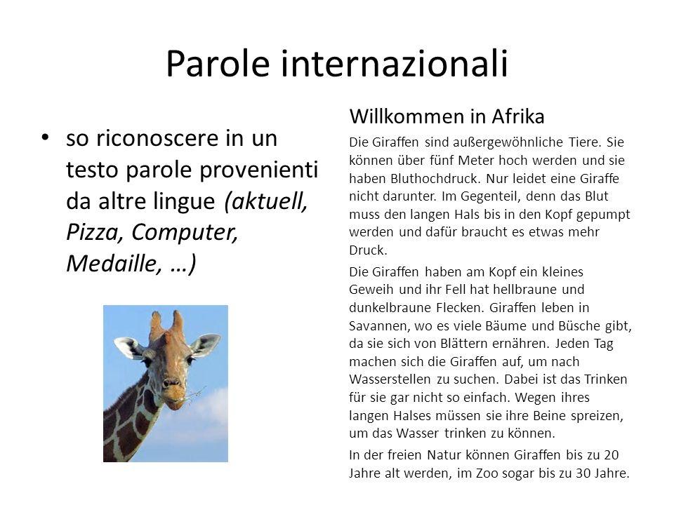 Parole internazionali so riconoscere in un testo parole provenienti da altre lingue (aktuell, Pizza, Computer, Medaille, …) Willkommen in Afrika Die Giraffen sind außergewöhnliche Tiere.