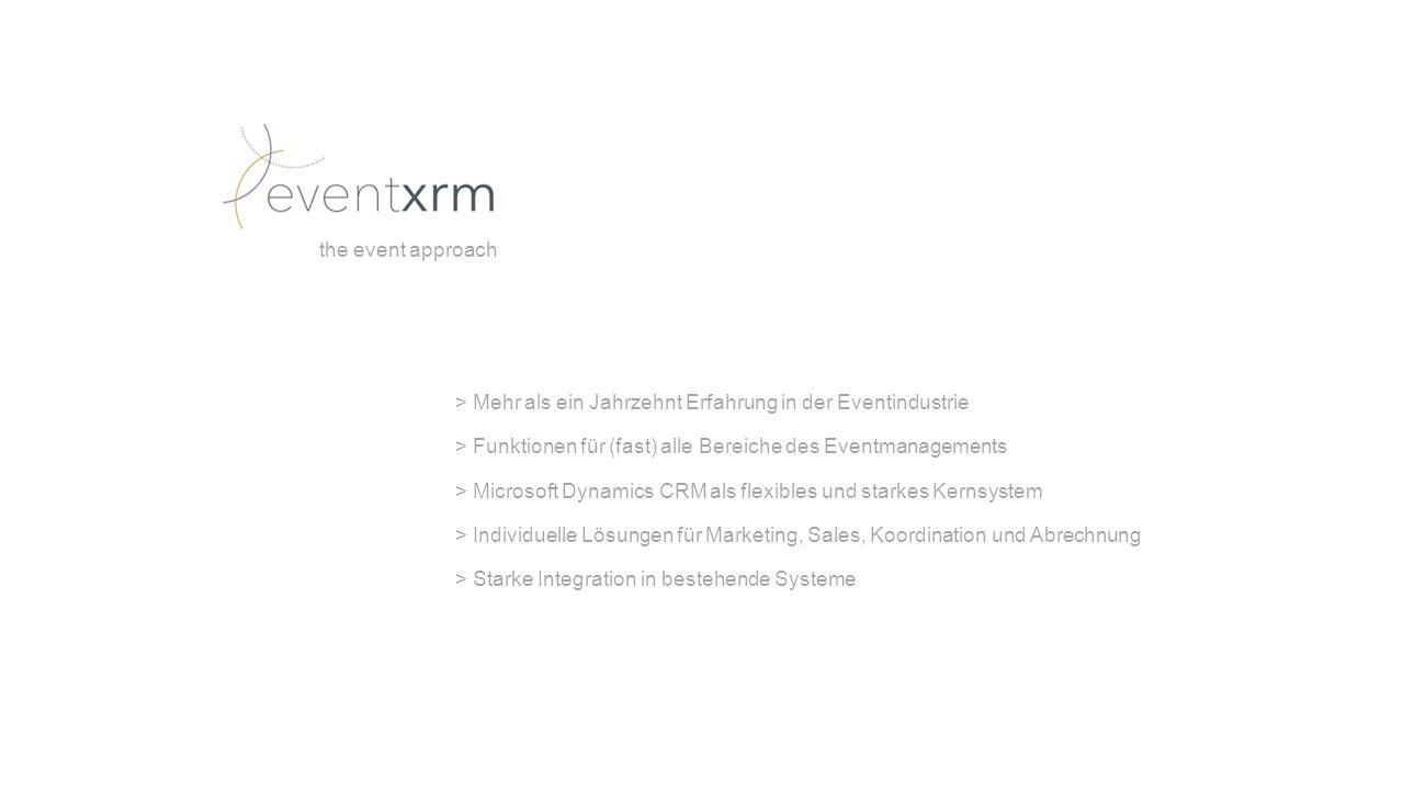 > Mehr als ein Jahrzehnt Erfahrung in der Eventindustrie > Funktionen für (fast) alle Bereiche des Eventmanagements > Microsoft Dynamics CRM als flexibles und starkes Kernsystem > Individuelle Lösungen für Marketing, Sales, Koordination und Abrechnung > Starke Integration in bestehende Systeme