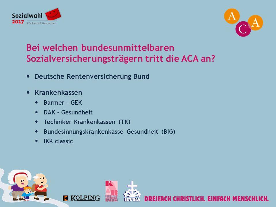 Bei welchen bundesunmittelbaren Sozialversicherungsträgern tritt die ACA an? Deutsche Rentenversicherung Bund Krankenkassen Barmer – GEK DAK – Gesundh