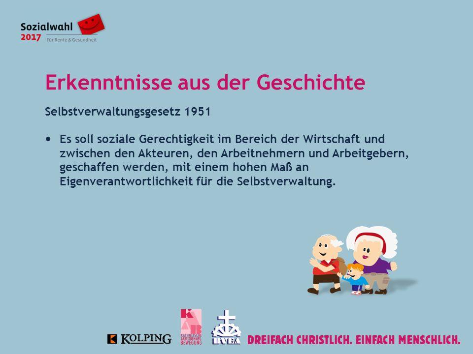 Erkenntnisse aus der Geschichte Selbstverwaltungsgesetz 1951 Es soll soziale Gerechtigkeit im Bereich der Wirtschaft und zwischen den Akteuren, den Arbeitnehmern und Arbeitgebern, geschaffen werden, mit einem hohen Maß an Eigenverantwortlichkeit für die Selbstverwaltung.