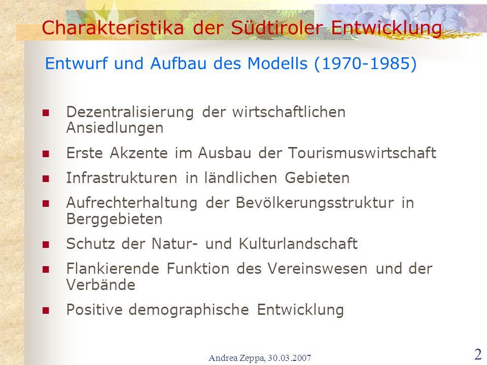 Andrea Zeppa, 30.03.2007 3 Charakteristika der Südtiroler Entwicklung Öffentliche Finanzmittel > Investitionen > interne Nachfrage für das Baugewerbe u.
